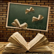 1547196-photo-of-urban-interior-with-school-blackboard-and-opened-vintage-flying-book
